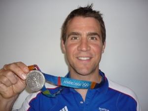Leon Taylor with his Athens 2004 Olympic silver medal